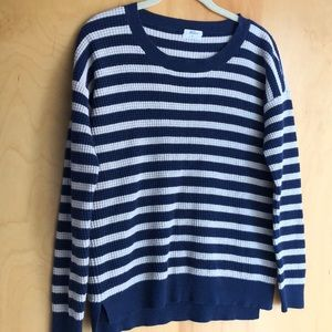 Madewell Wallace blue cream sweater heart elbows S